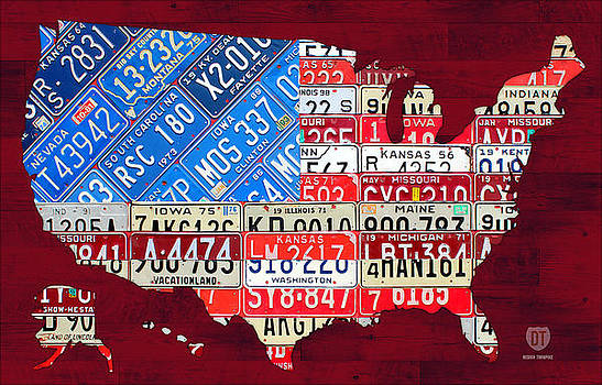 American Flag Map of the United States in Vintage License Plates by Design Turnpike