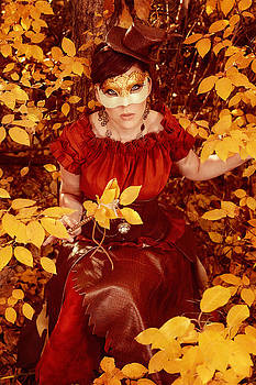 Autumn Steampunk Fairy Creating Fall Colors  With Her Magic Wand by Kriss Russell
