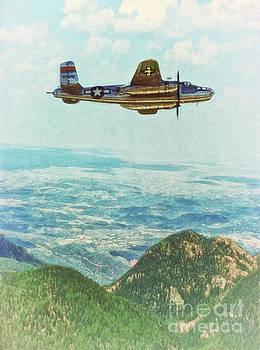 B25 Miss Mitchell Bomber Flying by Shawna Mac by Shawna Mac