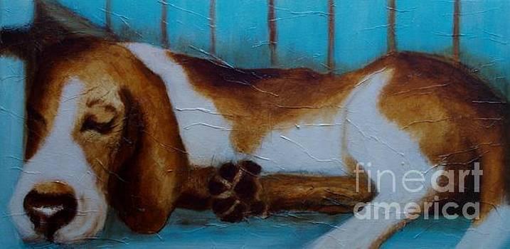 Bassett on Blue Bench by Lisbet Damgaard