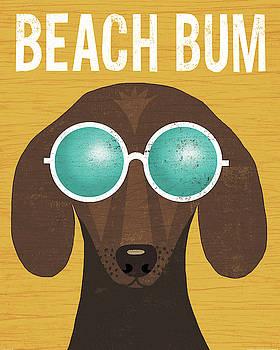 Beach Bums Dachshund I Bum by Michael Mullan