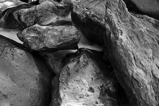 Beneath The Rocks Black and White by Wendell Ducharme Jr