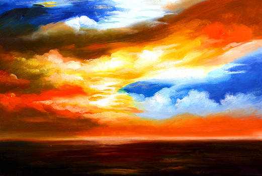 Best Art Choice AWARD Original Abstract Oil Painting Modern Contemporary Sky House Wall Gallery by Emma Lambert