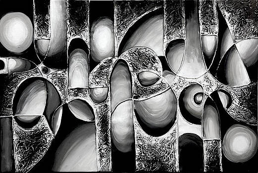 Best Art Choice AWARD Original Abstract Oil Painting Modern White Black Contemporary Home Gallery by Emma Lambert