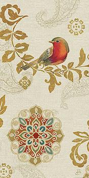 Bird Rainbow Red Panel by Daphne Brissonnet
