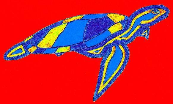 Blue Color Sea Turtle by Brett Smith