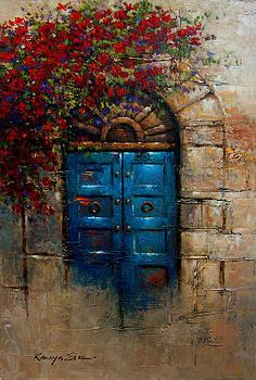 Blue Door - Italian door with rose bush from Tuscany print by Kanayo Ede