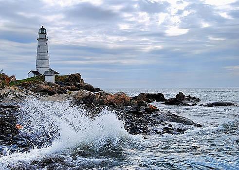Boston Light Wave Crashing by Peggie Strachan