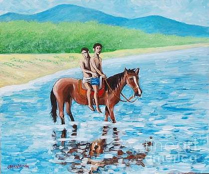 Boys on a horse in the River by Jean Pierre Bergoeing
