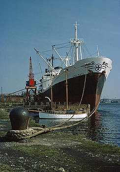 Cargo ship in Barry Docks South Wales UK 1975 by David Davies