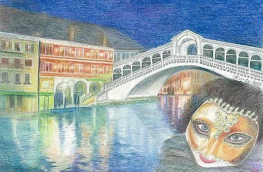 Carneval time near Rialto Venice by Eve-Ly Villberg