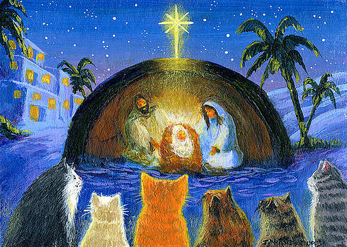 Cats at the Nativity by Jacquelin Vanderwood