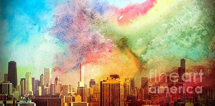 Chicago Skyline Watercolor sky by Linda Matlow