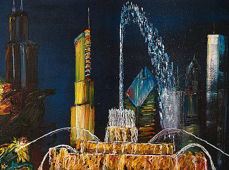 Chicago Skyline with Buckingham Fountain by Impressionism Modern and Contemporary Art  By Gregory A Page