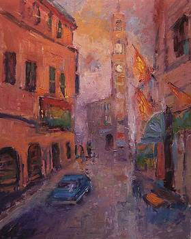 Clock tower in Montalcino by R W Goetting