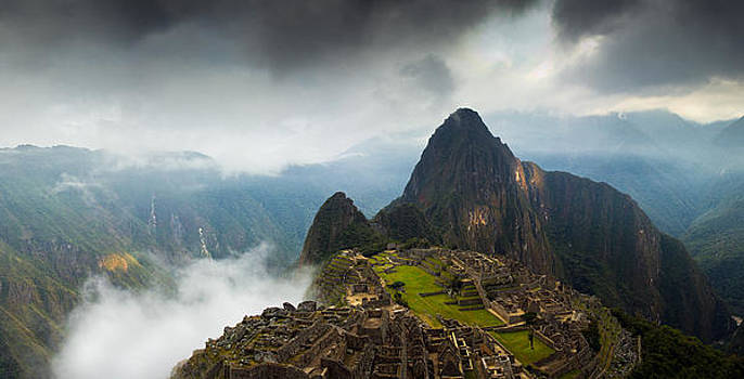 Clouds about to envelop Machu Picchu by Alison Buttigieg