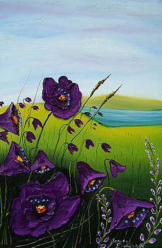 Cloudy Day Purple Poppies by Portland Art Creations