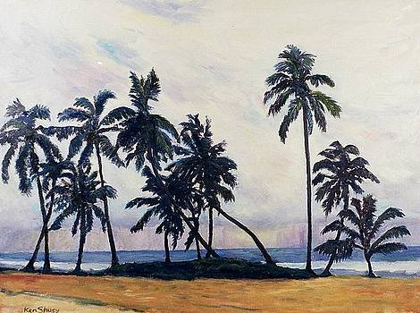 Coconut trees waiting for the storm by Ken Shuey