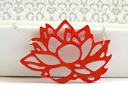 Contemporary Red Lotus Flower Pendant Necklace by Rony Bank