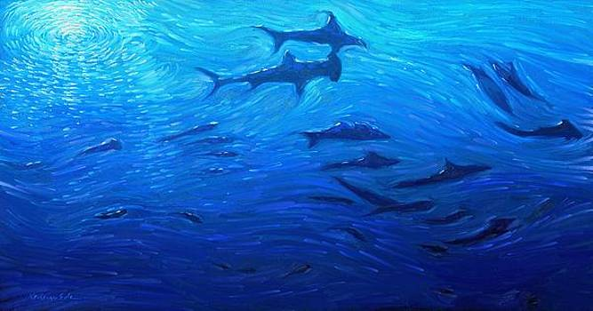 Deep Blue - School of sharks in a deep sea ocean by Kanayo Ede