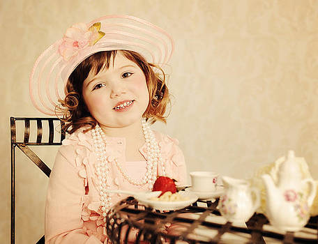 Delightful Little Girl Tea Partying During The 1920's Time Perio by Kriss Russell