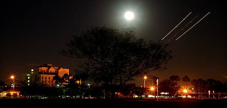 Doral with Moon and Plane by Gilberto Gutierrez