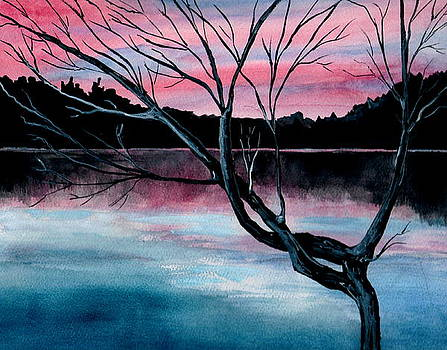 Dusk Lake Arrowhead Maine  by Brenda Owen