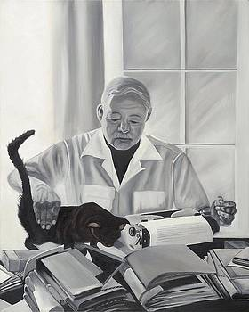 ERNEST HEMINGWAY and HIS CAT in CUBA by Caroline  Stuhr