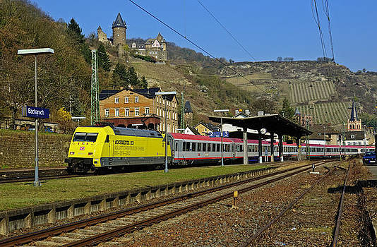 Euro City train passing through Bacharach in UNESCO listed Upper Middle Rhine Valley Germany by David Davies