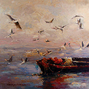 Evening meeting - dramatic tropical fishing boat and birds painting by Kanayo Ede