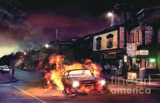 Flaming Chevy by Tom Straub