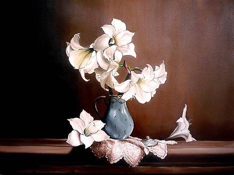 Floral Oil Painting by Jesna Jamal