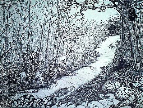 Forest- Pen and Ink by Preetha Jayachandran