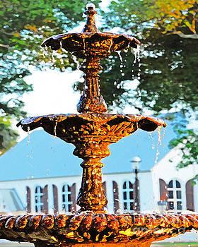 Fountain in church courtyard by Cheryl Casey