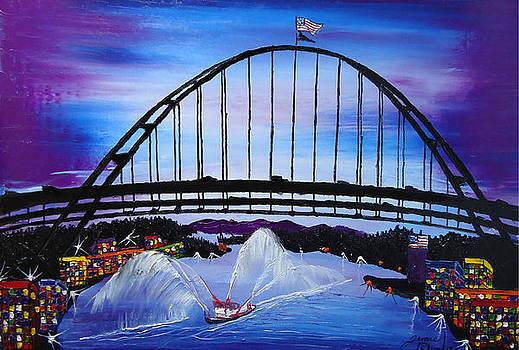 Fremont Bridge At Dusk 12 by Portland Art Creations