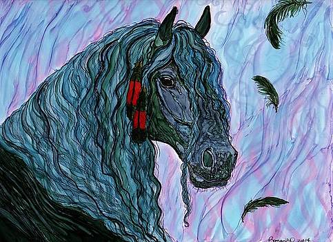 Friesian and feathers by Romanita Pulliam-Hollyman