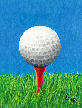 Golf Ball and Tee by Janice Dunbar