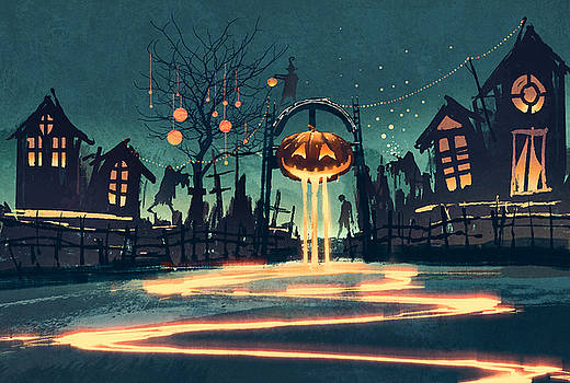 Halloween Night With Pumpkin And by