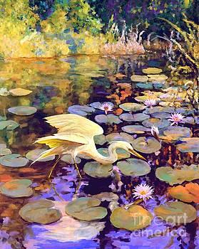 Heron in Lily Pond by David  Van Hulst