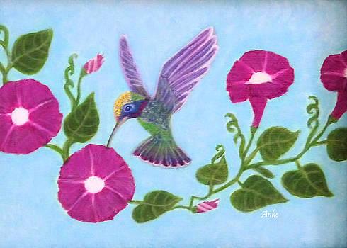 Hummingbird and Morning Glory by Anke Wheeler