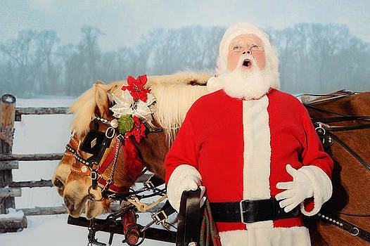 Jolly Santa Outside At Night With His Team of Horses by Kriss Russell