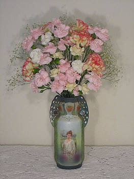 Lady on Vase with Pink Flowers by Good Taste Art