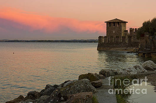 Lake Garda sunset with the tower of The Scaliger Castle by Kiril Stanchev