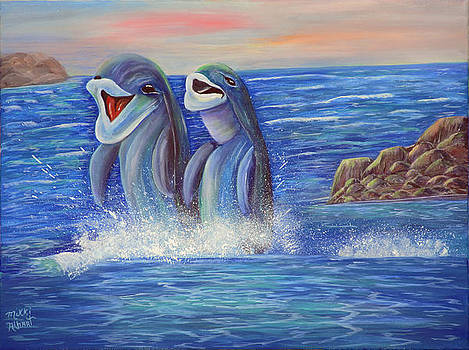 Laughing Dolphins by Mikki Alhart