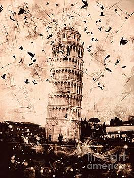 Leaning Tower of Pisa Sepia by Marina McLain
