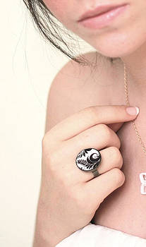 Leaves In Black And White Ring by Rony Bank