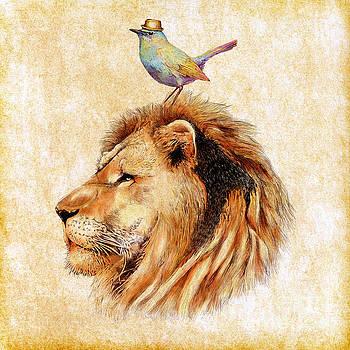 Lion and Bird by Jakarin Prawatruangsri