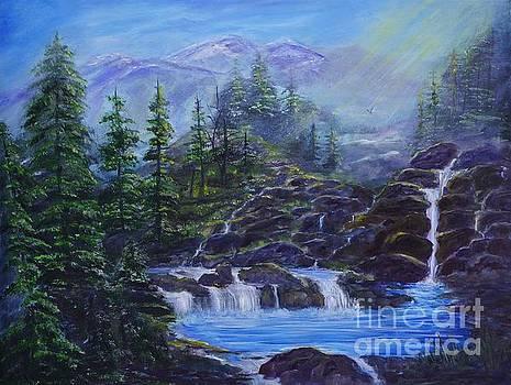 Majestic Mountain Falls by Leslie Allen