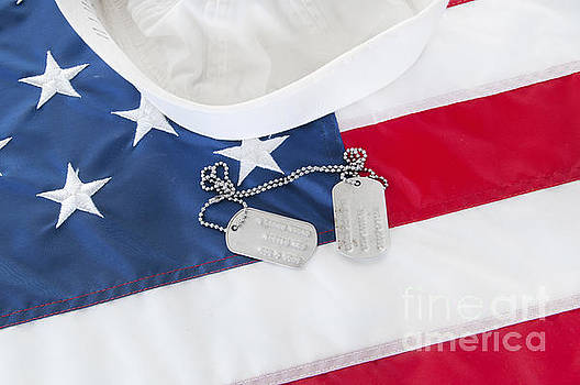 Military Dog Tags on Flag by Cheryl Casey