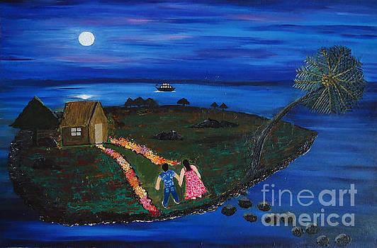 Moonlight on a Island by Jnana Finearts